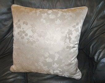 Throw pillow woven Silk DAMASK Ivory tone berry pattern custom designer new ONE