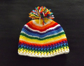 Rainbow Striped Stocking Hat, Child's Rainbow Striped Stocking Hat, Toddler's Rainbow Striped Stocking Hat, Child's Winter Hat, Toddler Hat