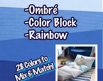 5 Pillow Bed - Pillow Mattress - Choose Your Colors - Color Block Pillow Bed