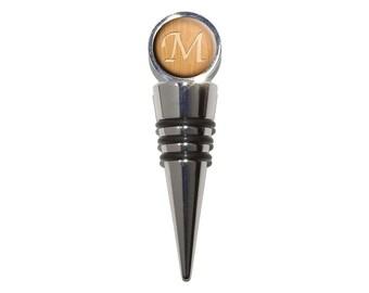 Letter M Wooden Engraving Wine Bottle Stopper Cork