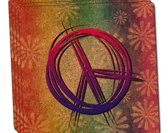 Hippie Peace Signs And Flowers Thin Cork Coaster Set Of 4