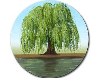 Old Weeping Willow Tree Mouse Pad