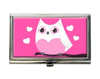 Cute Love Owl Business Credit Card Holder Case