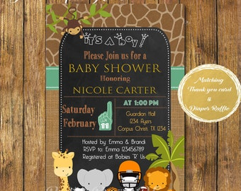 Digital File or Printed,Sports Safari Baby Shower Invitation,Jungle Theme Baby Shower Boy,Animal Baby Shower,Chalkboard Animal,Free Shipping