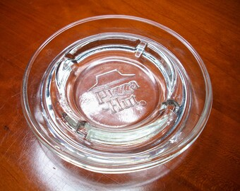 Vintage Pizza Hut Ashtray! Restaurant Ware, Pizza Chain, Restaurant Ashtray, Advertising, Pizza Hut Restaurant, Clear Glass, Embossed Logo
