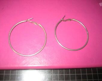 Two inch Diameter Silvertone Hoop Earrings