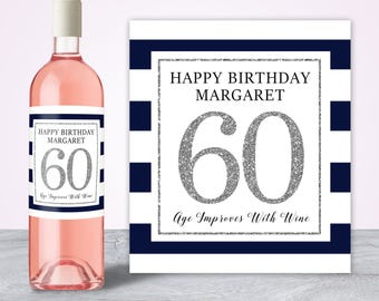 60th Birthday Gifts for Women, 60th Birthday Decorations, Custom Wine Label, Wine Bottle Label, Birthday Wine Label, 60th Party Decorations,