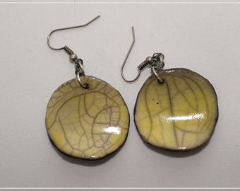 Yellow raku ceramic earrings