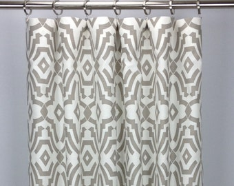 Geometric Curtains - FREE SHIPPING - Drapery Panels - Rod Pocket Drapes - Grommets - Lined/Unlined - Valance - Multiple Colors - Chevelle
