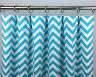Blue Chevron Curtains  - FREE SHIPPING - Aqua Blue Drapes - Nursery - Rod Pocket - Grommets - Lined/Unlined - Valance- 24 50 x 84 96 108 120