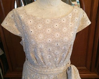 Jones New York Eyelet Summer Dress in Beige Blush Size 16