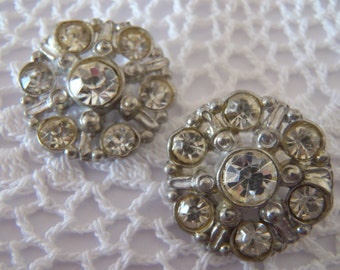 2 Vintage Buttons Rhinestone Cluster in Metal setting good quality 20 mm (approx 3/4 inches) sew craft