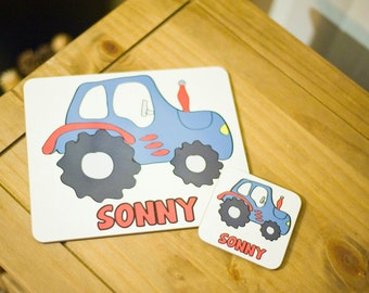 Personalised Tractor Placemat and Coaster Set