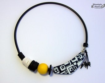 Black and White Popular Necklace, Extravagant Eye-catching Necklace, Contemporary Yellow Necklace, Bib Necklace, Asymmetric Necklace
