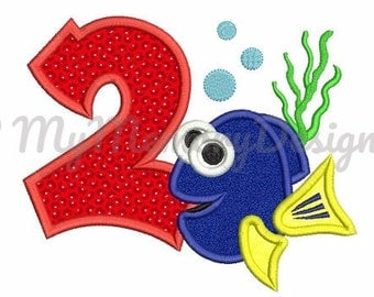 2nd birthday embroidery design - Fish embroidery - Birthday boy design - Machine embroidery pattern - INSTANT DOWNLOAD - 4x4 5x7 6x10
