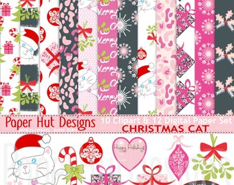 Christmas Cat Digital Papers-Christmas Cat Clipart-Holiday Clipart-Red and Pink-Mistletoe-Bauble-Holly-Leopard Print