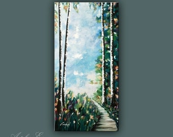 "Original Painting, Acrylic Painting on Canvas, Modern Wall Art, Contemporary tree painting, 48""x24"" Ready to Hang"