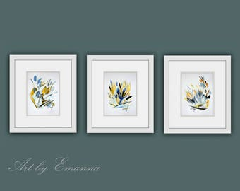 Instant Digital Download Art, Set of 3 Flower Painting, Contemporary Art, Flower Prints, Printable Abstract Painting, Modern Art