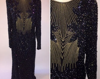 Vintage 1970s 1980s 70s 80s Black Silk Beaded Formal Gown Vinnie Size Medium