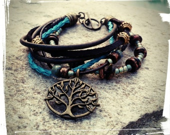 Sale* Tree of Life - Leather Layer Bracelet - Chunky Wrap//Multi Layer//Vintage Blue//Chocolate//Braided Blue Leather/Seafoam - Boho/Gypsy