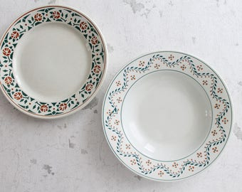 2 French antique plates, from Luneville K & G - Pattern ALICE, hasbeendeco,