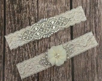 Wedding garter, pearl garter, off white garter, garter toss, lace and pearl, wedding garter set, garter set