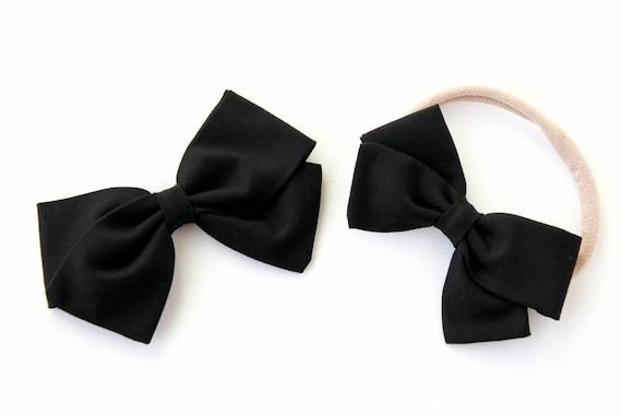 Baby Bow, Black bow, toddler, baby girl, fabric bow, nylon headband or clip