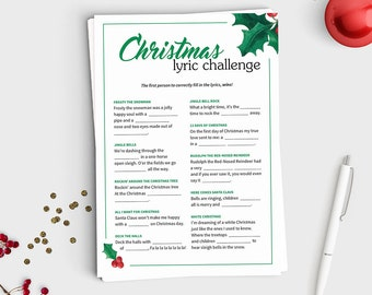 Christmas Lyric Challenge - Fill in the blank Christmas Song Game - Instant Download - 5x7 Printable - Fun Christmas Party Game for All Ages