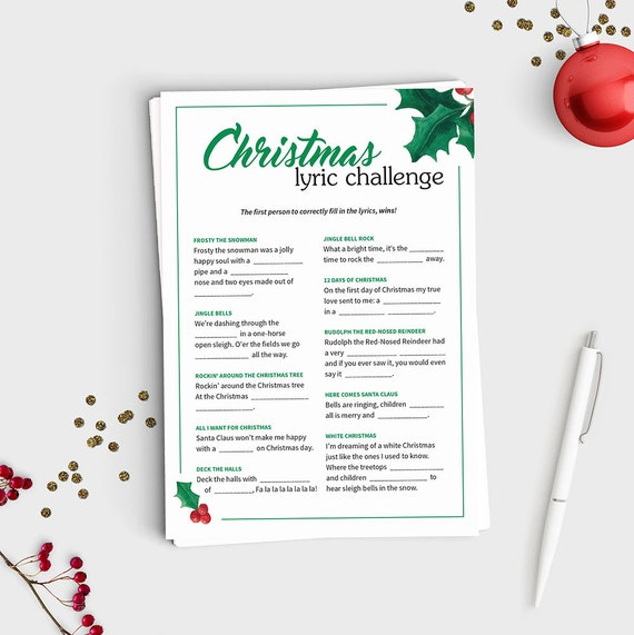 Christmas lyric challenge fill in the blank christmas song christmas lyric challenge fill in the blank christmas song game instant download 5x7 printable fun christmas party game for all ages stopboris Image collections