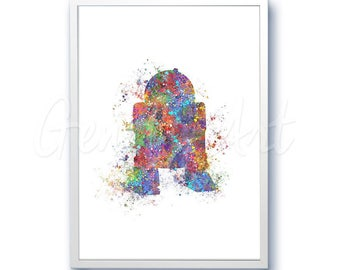Star Wars R2D2  Watercolor Art Silhouette Poster Print - Wall Decor - Watercolor Painting - Home Decor - Kids Decor