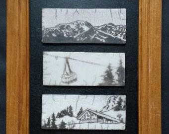 Ceramic raku - triptych Blanc, gondola and cottage - unique piece