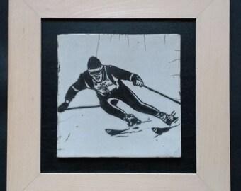 Tableau en céramique raku - Skieur vintage Jean-Claude Killy - pièce unique