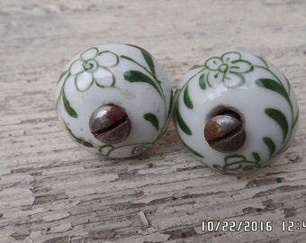 Vintage Porcelain Drawer Pulls Pair of White Green Deco Drawer Knobs Door Knobs