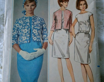 Misses Quick 'N Easy Boat Necked Dress & Box Jacket pattern 1966