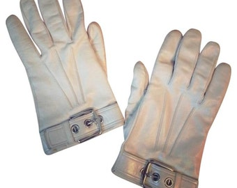 Soho White Leather Mod gloves