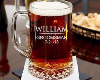 Suit Up Groomsman Personalized 15 oz Beer Mug  (JM239188)