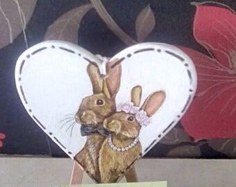 Decoupage Hanging hearts