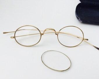 Stevens & Co. Antique Glases With Case/Antique Glasses/Antique Gold Glasses/Wire Spectacles/Gold Wire Glasses