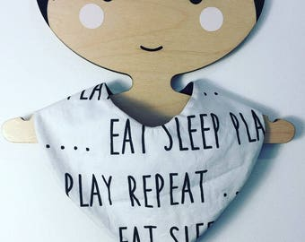 Bib for baby eat, sleep, play, repeat double waterproof
