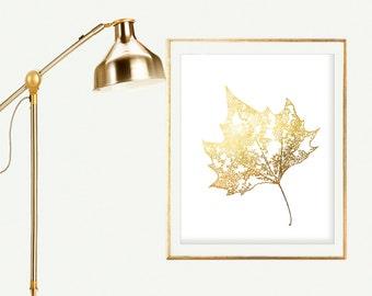 Print Maple Leaves Art Print Instant Download Wall Decor Print  Leaf Tree Print Fall Foliage Gold Wall decor  Faux Gold Foil Print