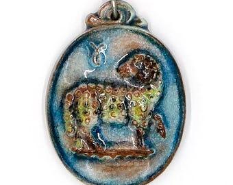 Karlsruhe Germany Ceramic Aries Zodiac Pendant Necklace