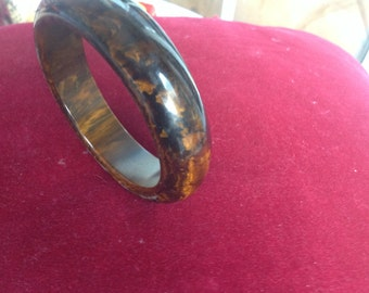 Vintage multicolored brown Bakelite bangle bracelet