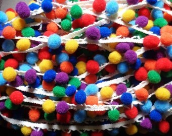 Rainbow Pom Pom Ball fringe Trim price per yard