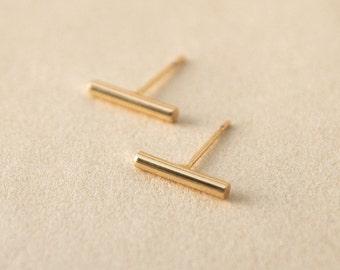 tiny stud earrings - bar earrings - stick earrings - gold bar earrings - minimalist studs - minimal earrings - gift for her under 10 - gold