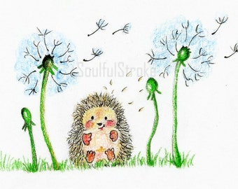Cute hedgehog with dandelions DIGITAL print - nursery art - kids room decor
