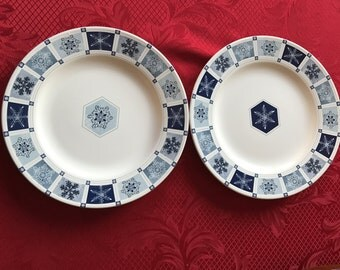Set Of Two (2) White With Blue Design Desert Plates *Winter Frost* By Sankura