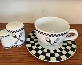 Extra Large Checkered Board /Fork/Spoon Design* Soup Mug/Cup With Matching Salt And Pepper Shakers*