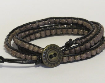 E-1735 Gray and black leather wrap bracelet
