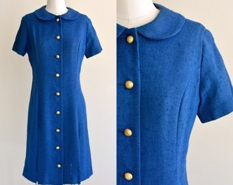 1960s Does 1930s Dress / Blue Woven Dress / Vintage 60s does 30s Peter Pan Collared Dress / Large