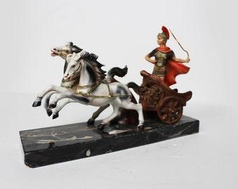 Vintage Roman Gladiator Chariot on Marble Base